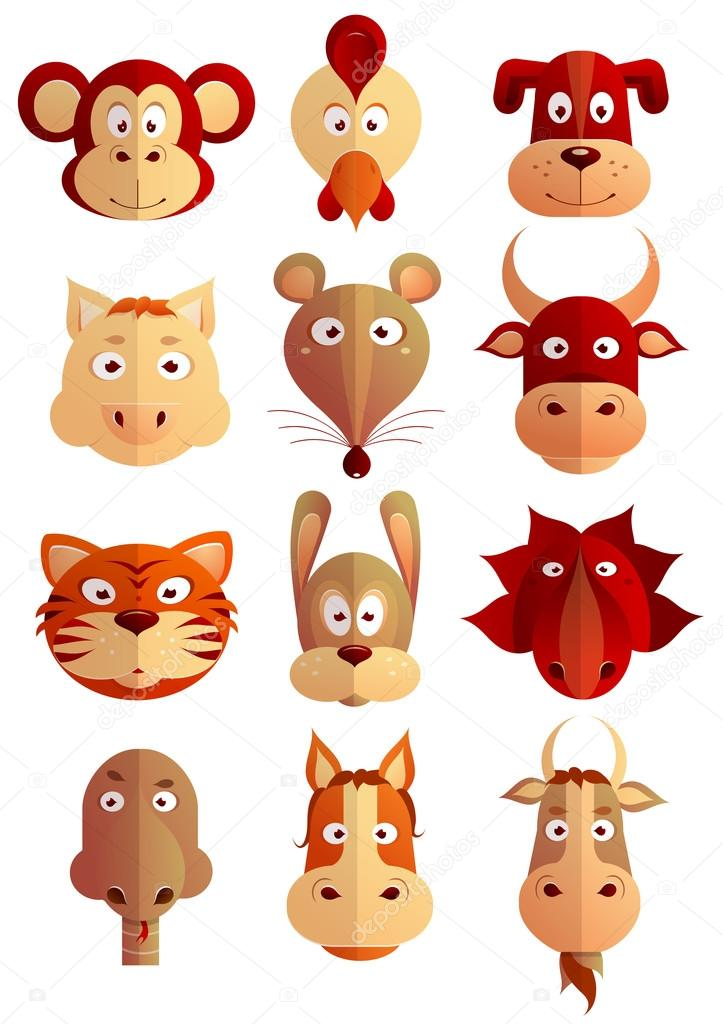 Chinese Zodiac Symbols As Cartoon Animals Stock Vector Akvlv