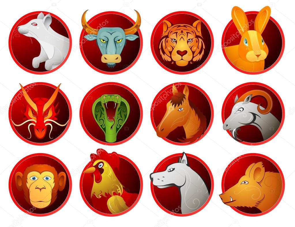 Chinese Zodiac Symbols Stock Vector Akvlv 95339806