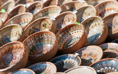 Romanian traditional ceramic plates, Romania. Romanian traditional ceramic in the plates form, painted with specific reasons Horezu area