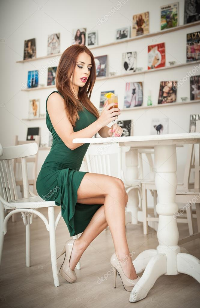 Young Beautiful Redhead Woman Girl In Casual Light Clothes