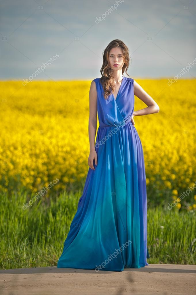 Long hair blue dress girl