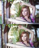 krásný ženský portrét s venkovní dlouhé červené vlasy. pravý přírodní zrzka s zářivě barevná halenka v parku. portrét atraktivní žena s krásnými oči snění, outdoor shot