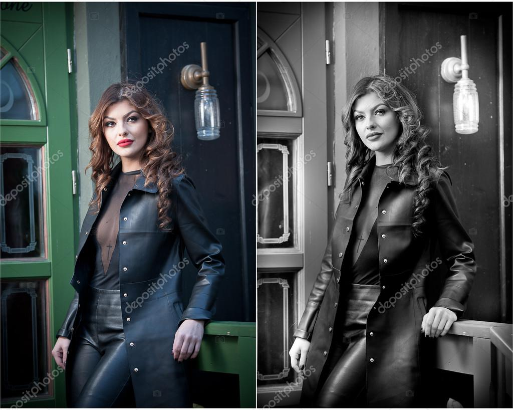 sexy schwarzes Lederoutfit