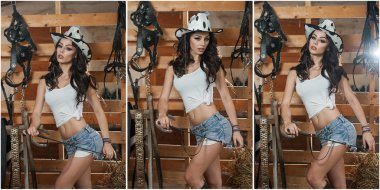 Beautiful brunette girl with country look, indoors shot in stable, rustic style. Attractive woman with cowboy hat, denim shorts and tight white top. American country style farmer near barn harness