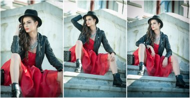 Beautiful woman with black hat, red dress and boots posing sitting on stairs. Young brunette spending time during autumn. Long hair attractive girl with creative makeup and red dress, outdoors shot