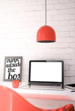 red desktop with blank screen laptop