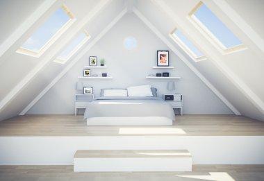 modern bedroom in loft