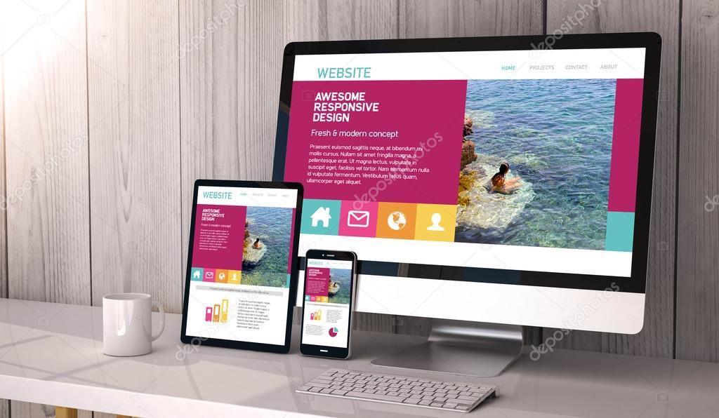 responsive website design on screens
