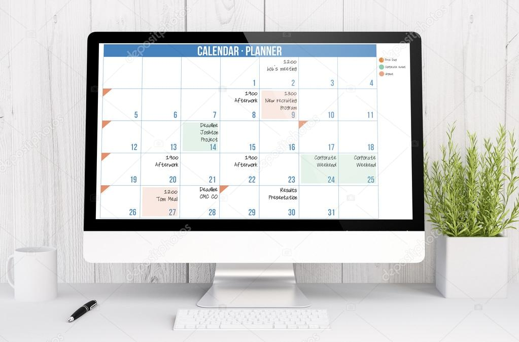 Calendar Planner Computer : Calendar planner on computer screen — stock photo