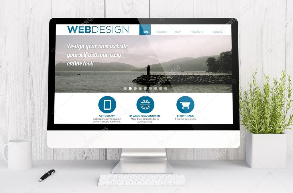 web design template on computer screen — Stock Photo ...