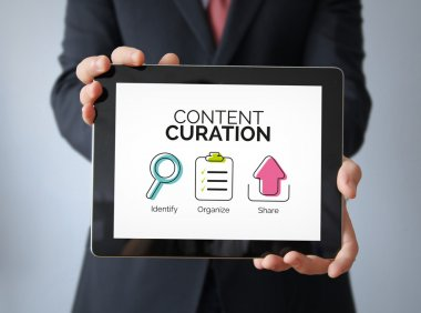 Content Curation graphic on tablet screen