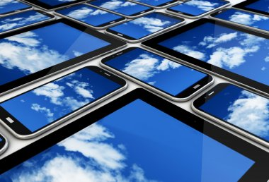 Devices with clouds on  screens
