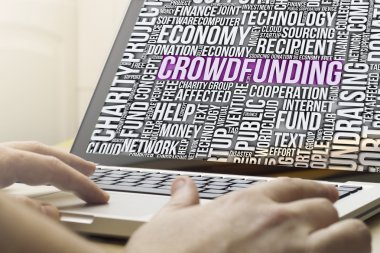 Crowdfunding text on a screen