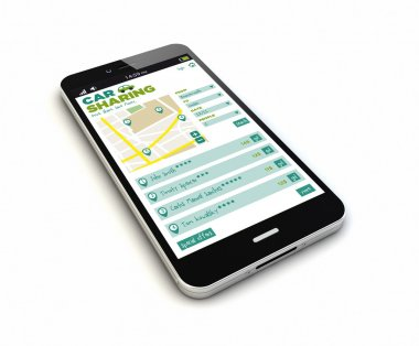 smartphone with car sharing app