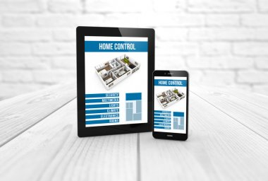 smart home control on tablet and smartphone