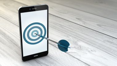 Smartphone with dartboard in the screen