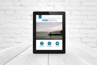 tablet with web design website