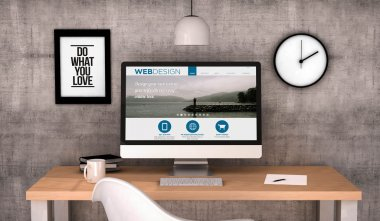 Digital generated workspace desktop with web design website on screen computer. All screen graphics are made up. 3D generated. stock vector