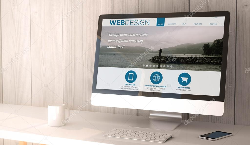 computer and smartphone with web design website