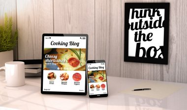 tablet and phone  with cooking blog on screen