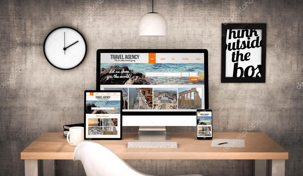 office workplace with travel agency devices
