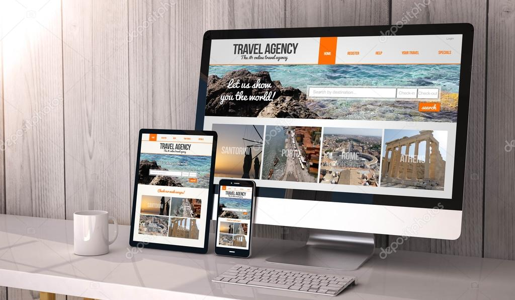 devices with travel agency website on screen