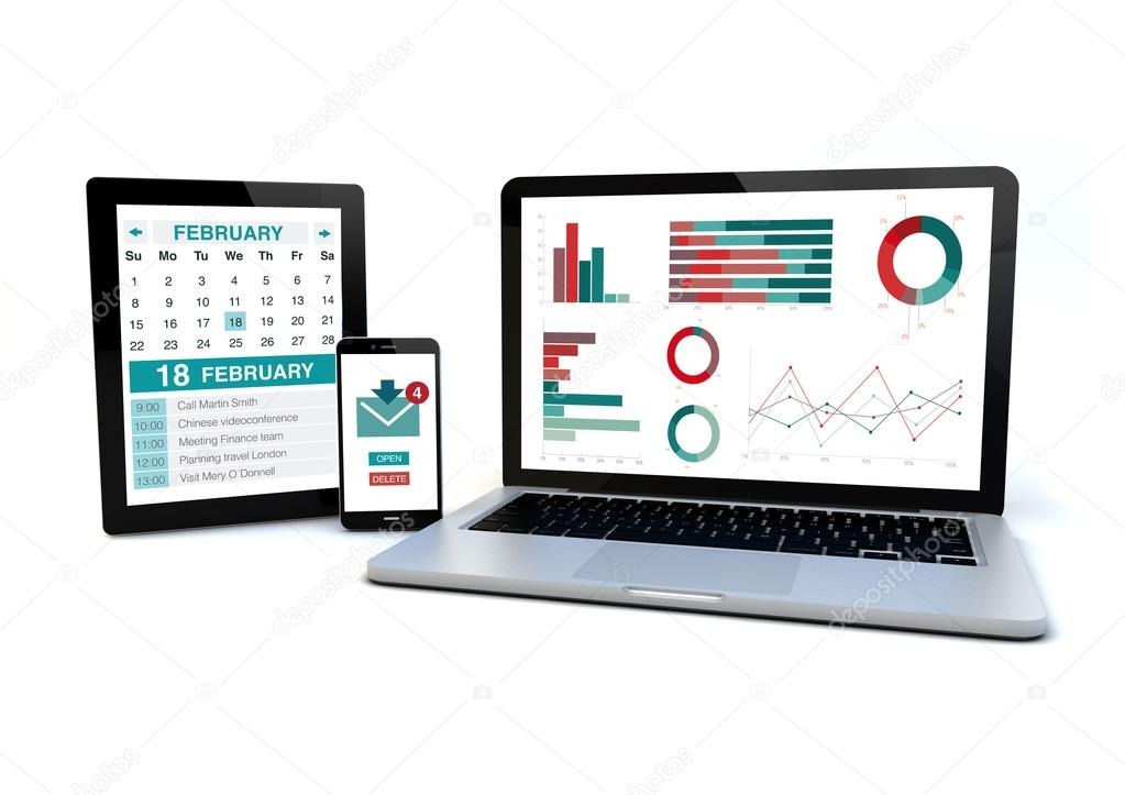 devices with responsive design wireframe on screen — Stock Photo ...