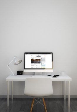 clean workspace with news website