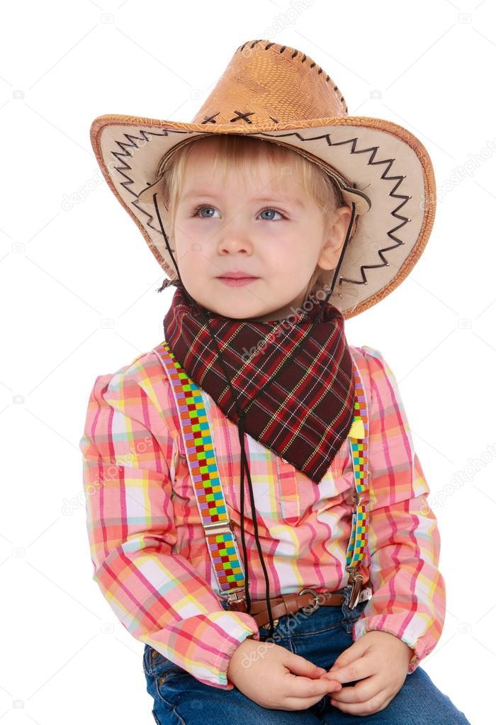cc5fe39c98705 petite fille habillée en cow-boy — Photographie lotosfoto1 ©  119686350