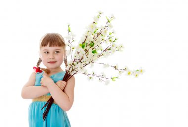 Adorable little blonde girl with short bangs and braids which are plaited red bows , in a long blue dress hugs bouquet of white flowers