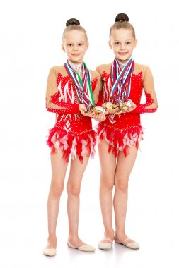 Gymnasts show medals