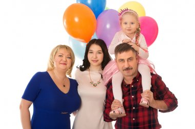 Happy family with balloons