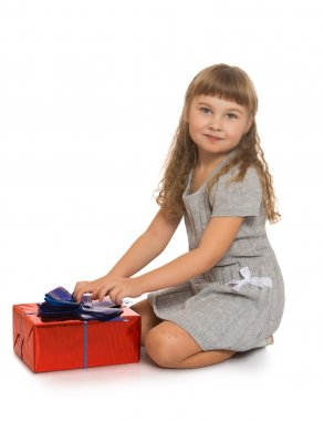 little girl with a gift