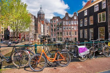 Amsterdam city with canal in Holland