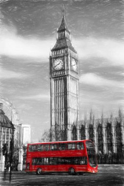 Big Ben in London, England, United Kingdom, ARTWORK STYLE