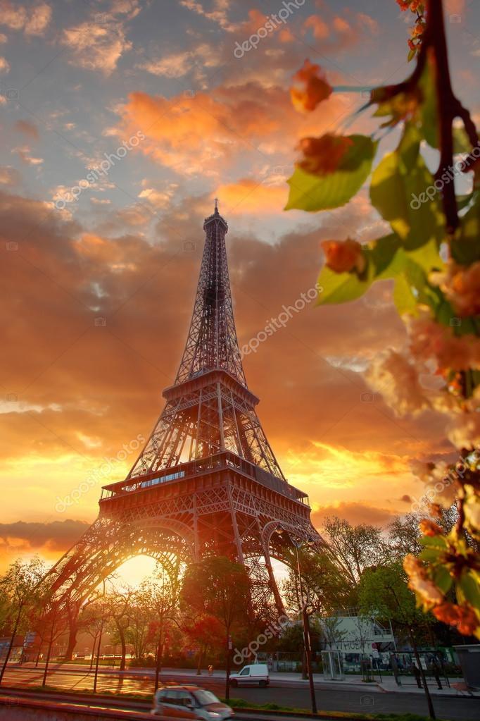 Eiffel Tower During Beautiful Spring Morning In Paris