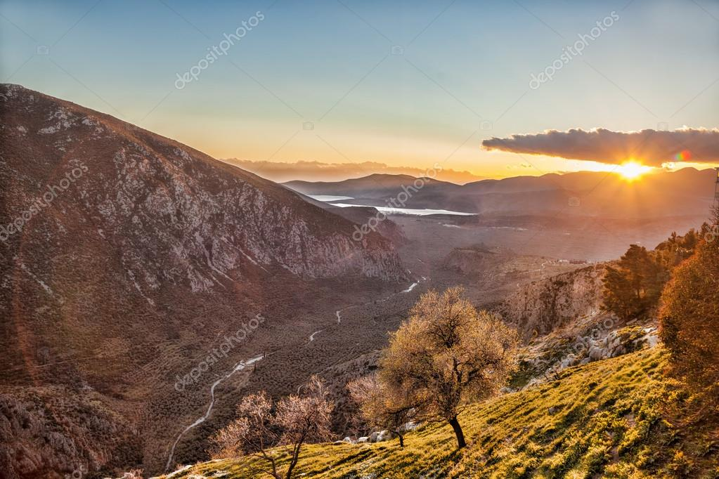 Amazing view of sunset in Delphi, Greece