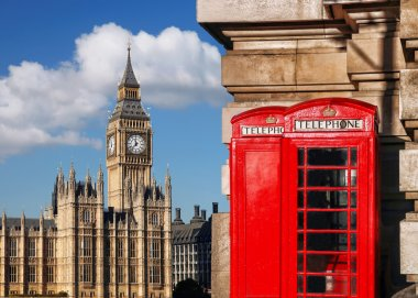 London  with BIG BEN  and red PHONE BOOTHS in England, UK