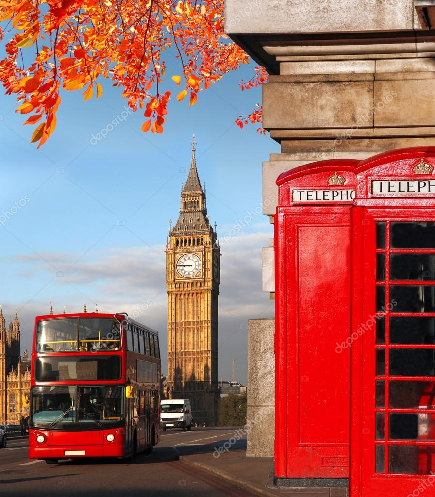 s mbolos de londres big ben autob s doble del decker y cabinas de tel fono rojas en inglaterra. Black Bedroom Furniture Sets. Home Design Ideas