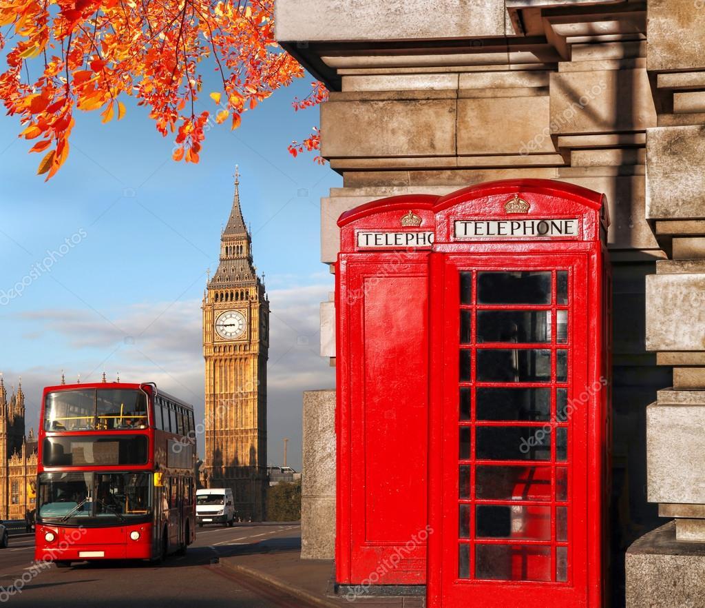 symboles de londres avec le big ben double decker bus et des cabines t l phoniques rouges en. Black Bedroom Furniture Sets. Home Design Ideas