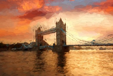 Famous Tower Bridge Artwork in style in London, England