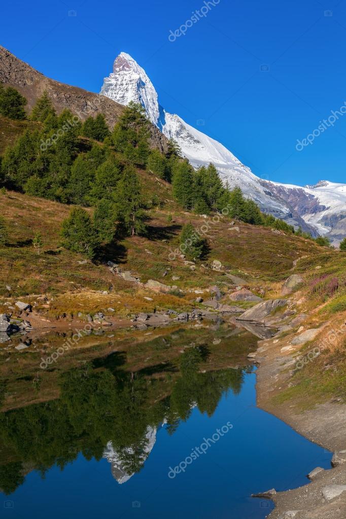 Matterhorn reflecting in Grindjisee in Swiss Alps, Switzerland