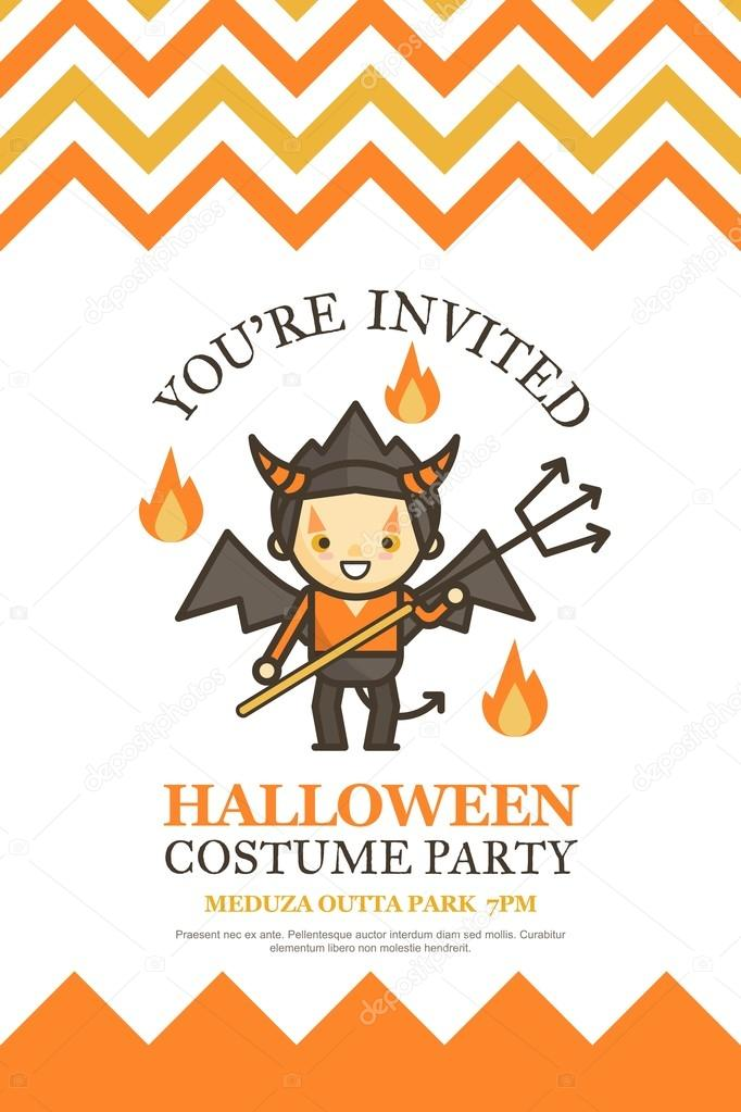 halloween invitation card for costume night party — Stock Vector ...