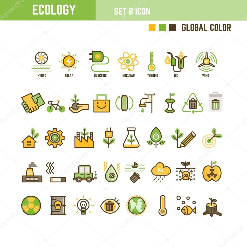Ecology set of  icons