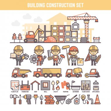 building and construction site elements for infographics
