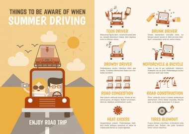 Infographics cartoon character summer driving
