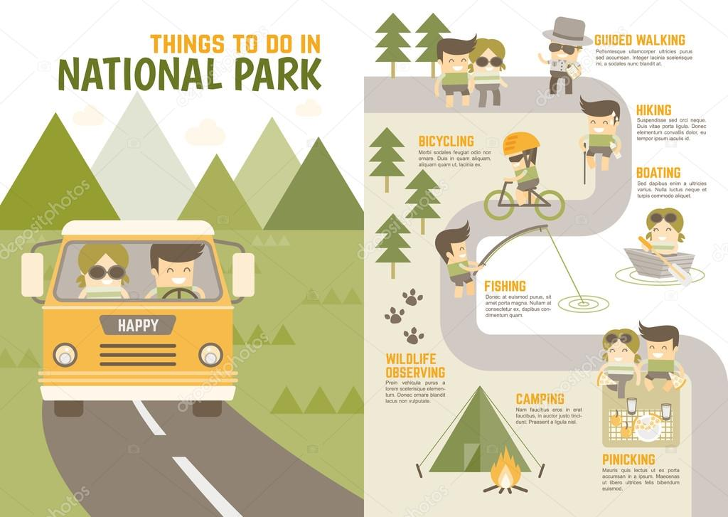 Infographics cartoon character about national park