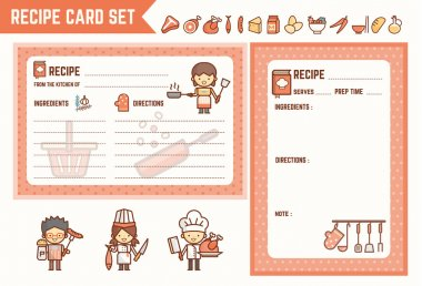 cooking and kitchen recipe card set