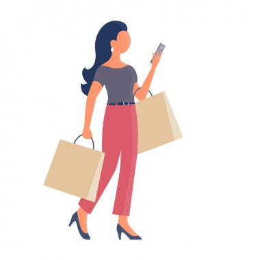 A beautiful girl goes shopping and talks on the phone. In the hands of the packages. Vector isolated flat illustration on a white background