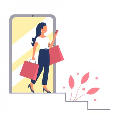 A beautiful girl goes shopping and talks on the phone. In the hands of the packages. Vector isolated flat illustration